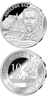10 crowns 200th Anniversary of the Birth of Adolphe Sax - 2014 - Series: European Silver Programme - Belgium