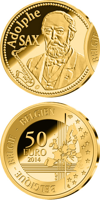 Image of 50 euro coin - 200th Anniversary of the Birth of Adolphe Sax | Belgium 2014.  The Gold coin is of Proof quality.