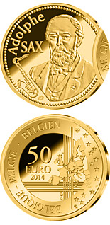 50 euro 200th Anniversary of the Birth of Adolphe Sax - 2014 - Series: Gold 50 euro coins - Belgium