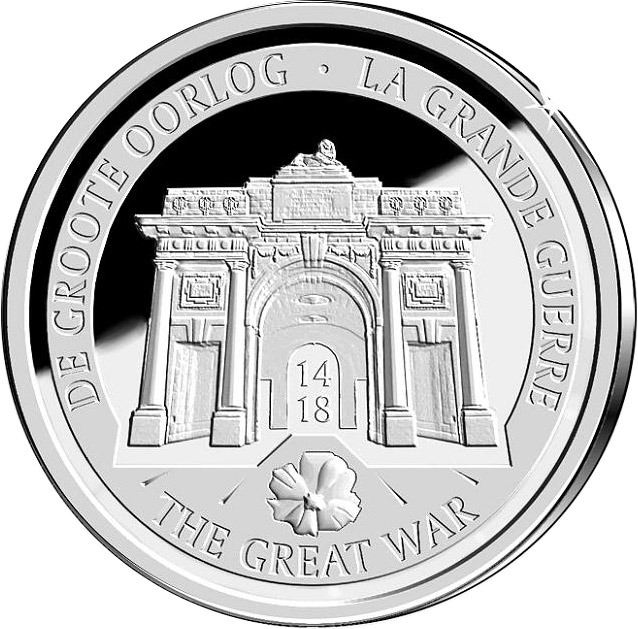 Image of 10 euro coin - 100 Years After the Beginning of the First World War | Belgium 2014.  The Silver coin is of Proof quality.