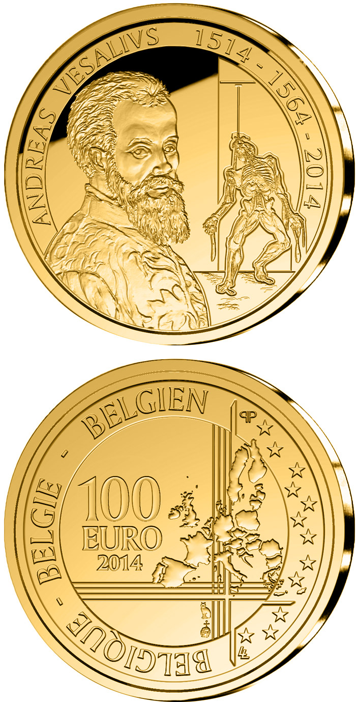 Image of 100 euro coin 500th Anniversary of the Birth of Andreas Vesalius | Belgium 2014.  The Gold coin is of Proof quality.
