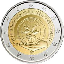 Image of 2 euro coin – The European Year for Development | Belgium 2015