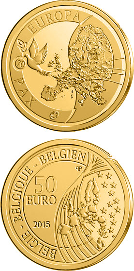Image of 50 euro coin - 70 years of Peace in Europe | Belgium 2015.  The Gold coin is of Proof quality.