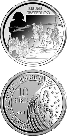 Image of 10 euro coin 200th Anniversary of the Battle of Waterloo | Belgium 2015.  The Silver coin is of Proof quality.