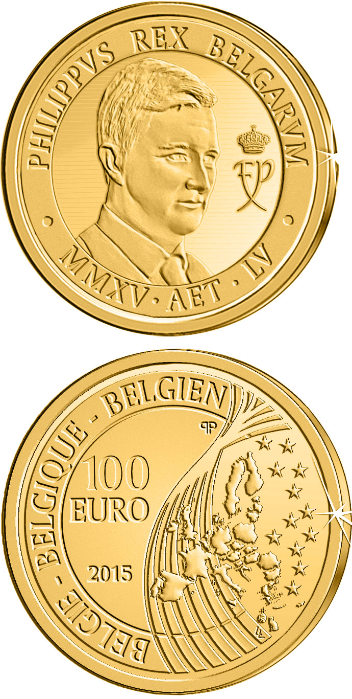 Image of 100 euro coin King Philippe | Belgium 2015.  The Gold coin is of Proof quality.