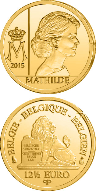 Image of 12.5 euro coin Mathilde | Belgium 2015.  The Gold coin is of Proof quality.