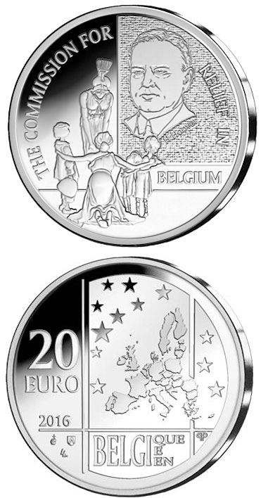 Image of 20 euro coin - The Commission for Relief in Belgium | Belgium 2016.  The Silver coin is of Proof quality.