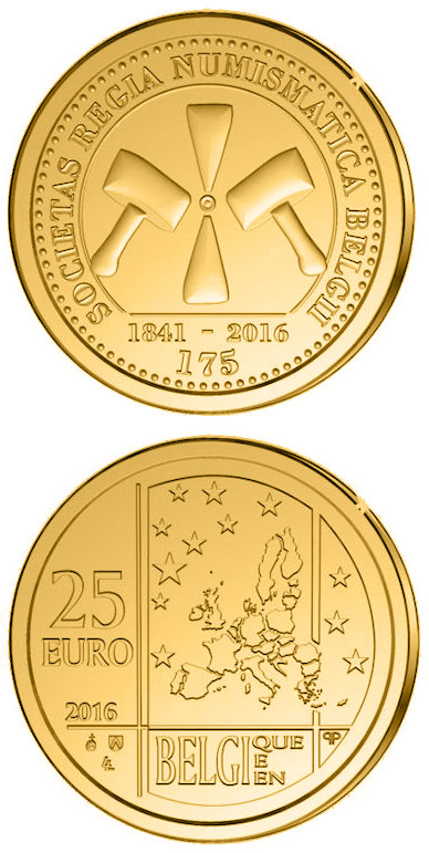 Image of 25 euro coin – 175 years of Royal Numismatic Society of Belgium | Belgium 2016.  The Gold coin is of Proof quality.