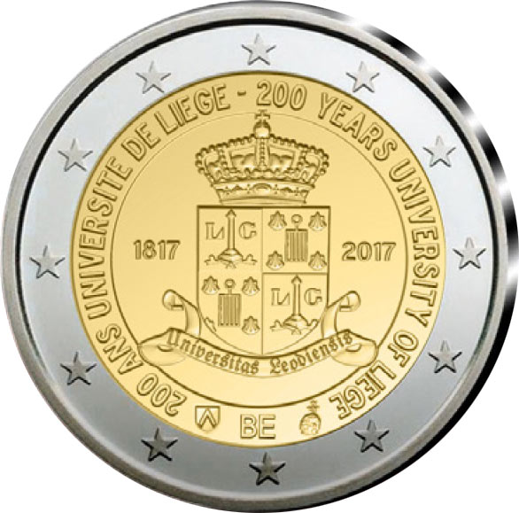 Image of 2 euro coin - 200 Years Liege University  | Belgium 2017