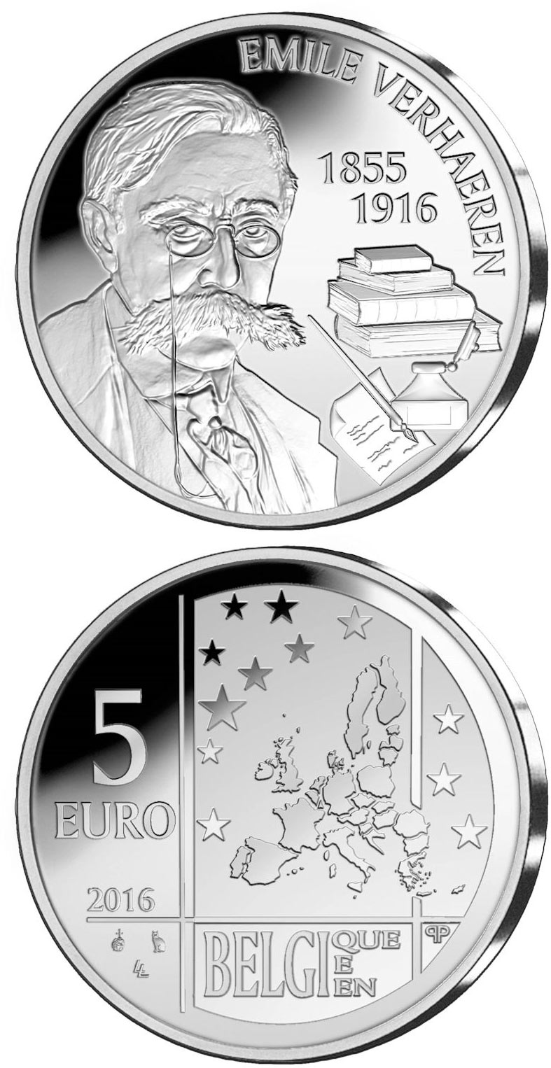 Image of a coin 5 euro | Belgium | 100th Anniversary of the Death of Emile Verhaeren | 2016