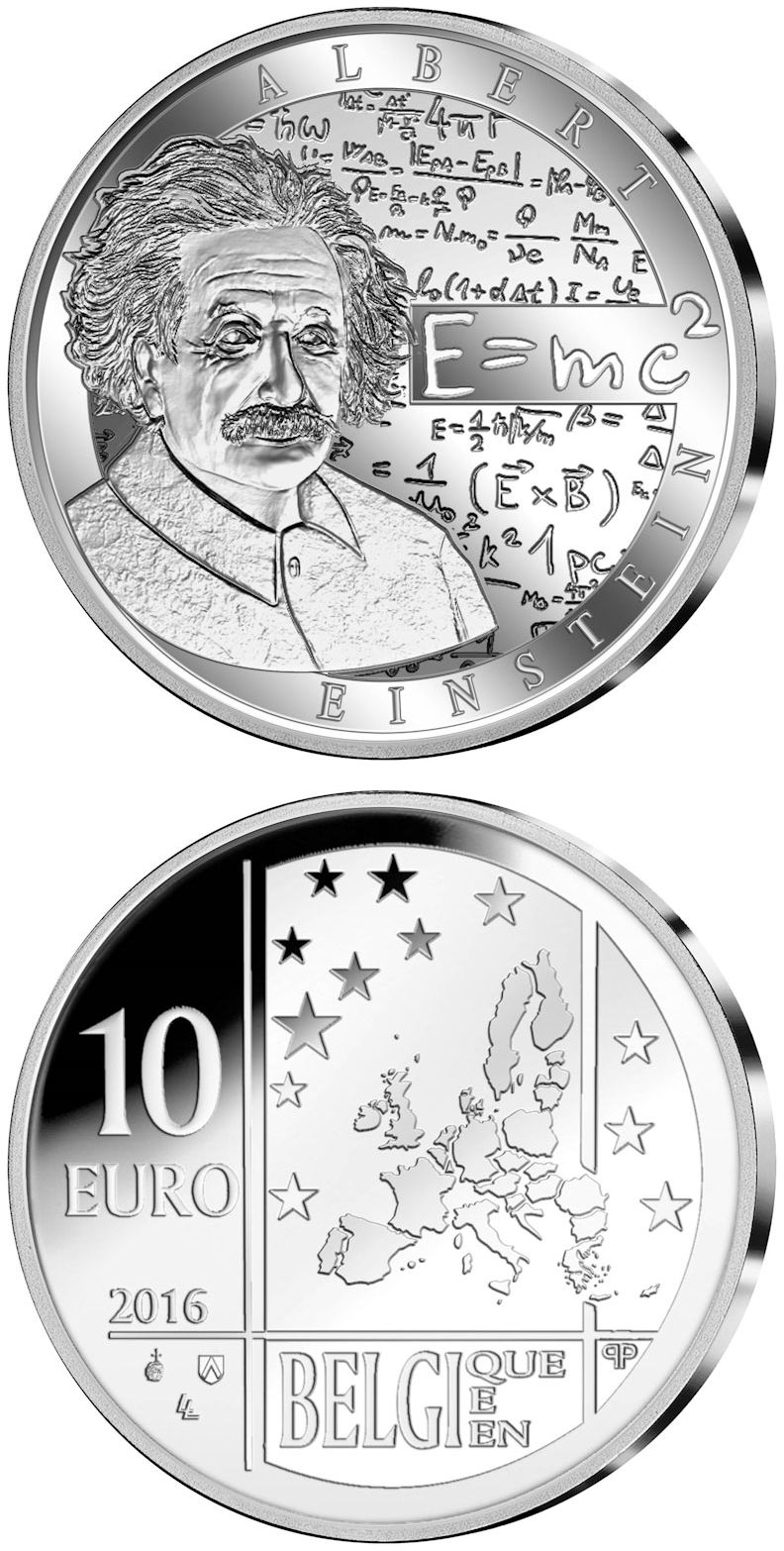 Image of 10 euro coin - Albert Einstein | Belgium 2016.  The Silver coin is of Proof quality.