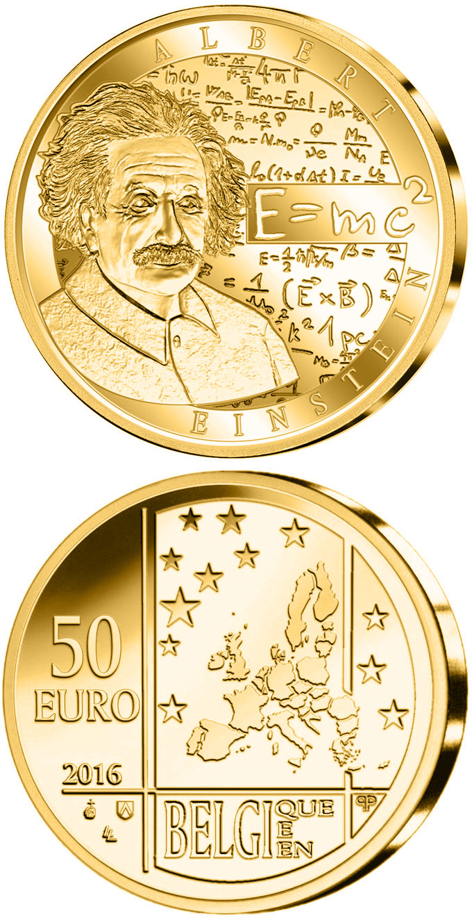 Image of 50 euro coin - Albert Einstein | Belgium 2016.  The Gold coin is of Proof quality.
