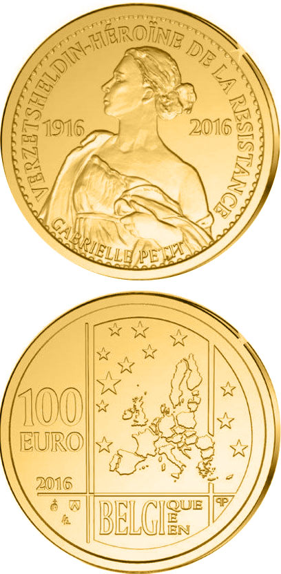 Image of 100 euro coin - 100th Anniversary of the Execution of Gabrielle Petit | Belgium 2016.  The Gold coin is of Proof quality.