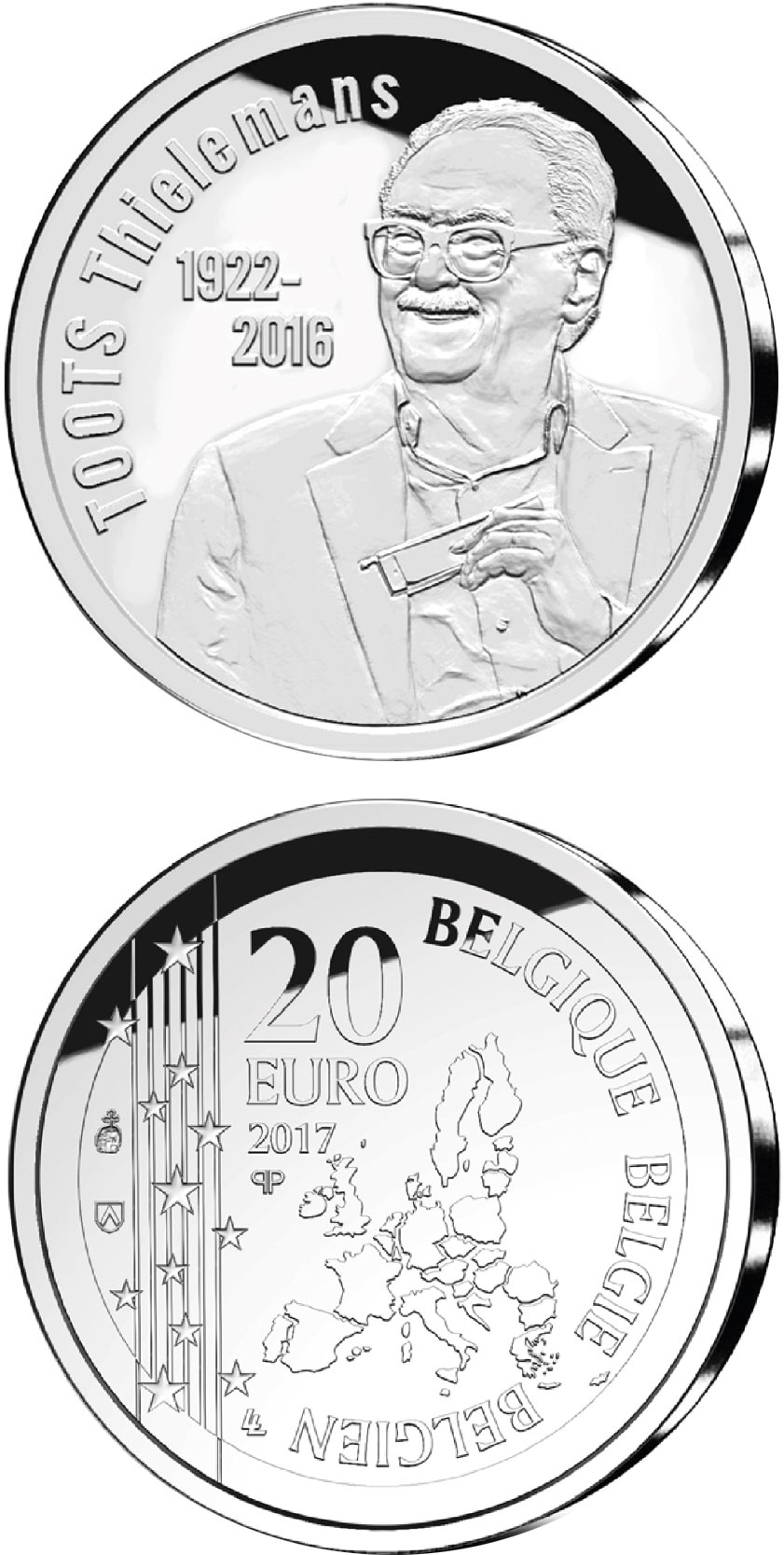 Image of 20 euro coin – Toots Thielemanns  | Belgium 2017.  The Silver coin is of Proof quality.