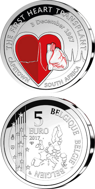 Image of 5 euro coin – 50th Anniversary of the First Heart Transplant | Belgium 2017.  The Silver coin is of Proof quality.