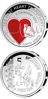 5 euro 50th Anniversary of the First Heart Transplant - 2017 - Series: Silver 5 euro coins - Belgium