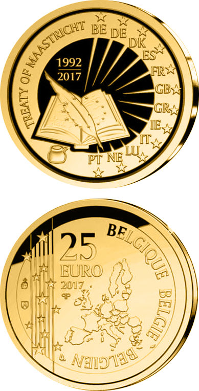 Image of 25 years Maastricht contract – 25 euro coin Belgium 2017.  The Gold coin is of BU quality.