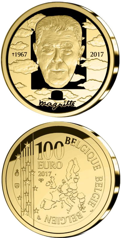 Image of 100 euro coin - Rene Magritte | Belgium 2017.  The Gold coin is of Proof quality.