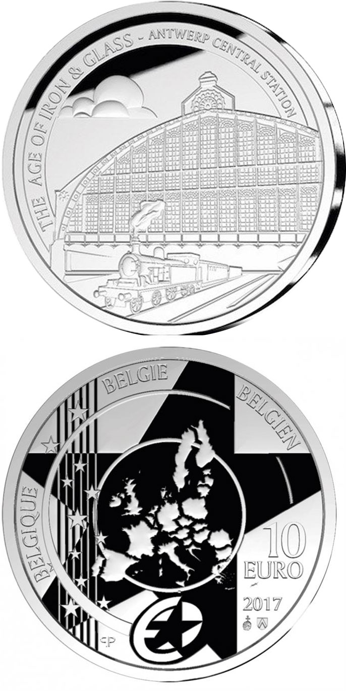 Image of 10 euro coin - Eurostar: Antwerp Station | Belgium 2017.  The Silver coin is of Proof quality.