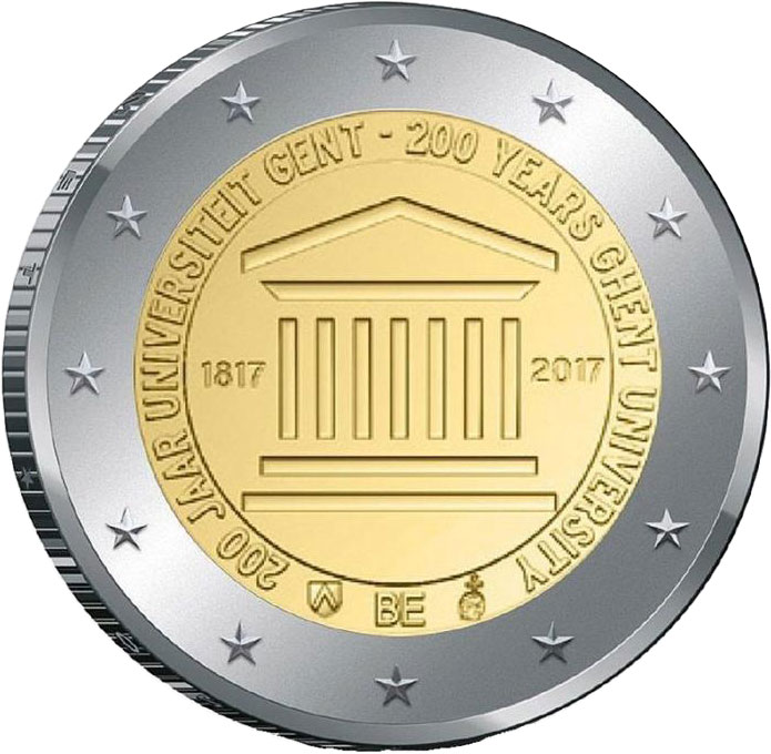 Image of 2 euro coin - 200th anniversary of the Ghent University  | Belgium 2017