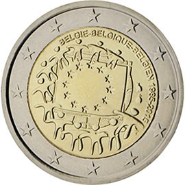 Image of 2 euro coin - The 30th anniversary of the EU flag | Belgium 2015