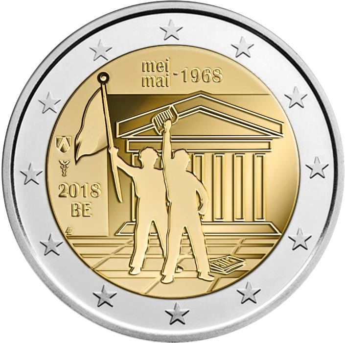 Image of 2 euro coin - May 1968 civil protests | Belgium 2018