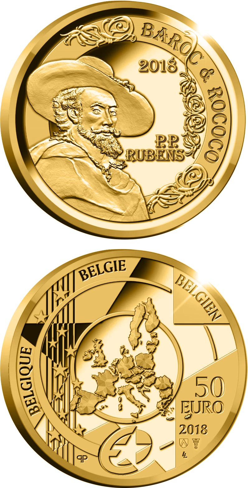 Image of 50 euro coin – Peter Paul Rubens | Belgium 2018.  The Gold coin is of Proof quality.
