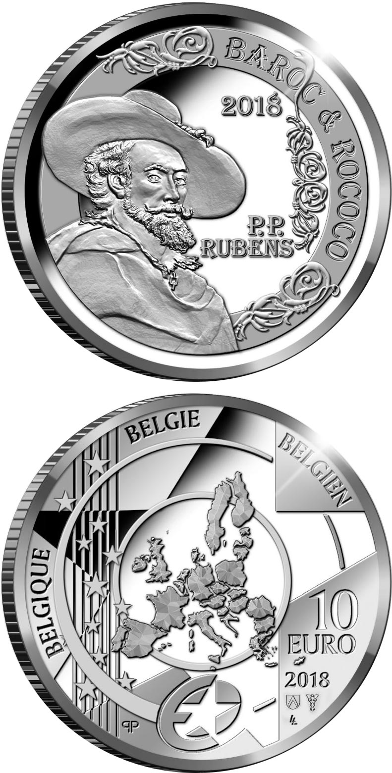 Image of 10 euro coin – Peter Paul Rubens | Belgium 2018.  The Silver coin is of Proof quality.