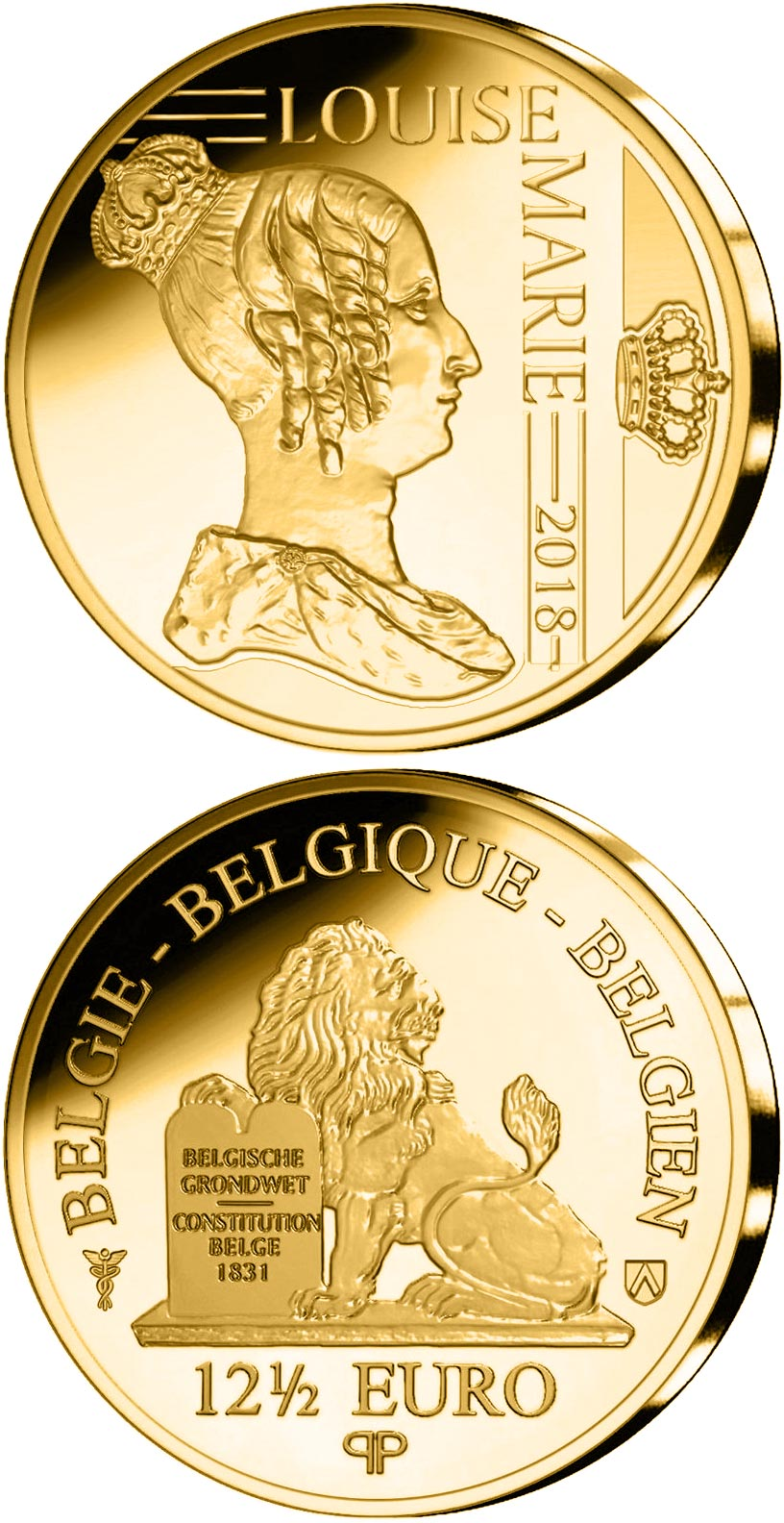 Image of 12.5 euro coin – Louise of Orléans | Belgium 2018.  The Gold coin is of Proof quality.