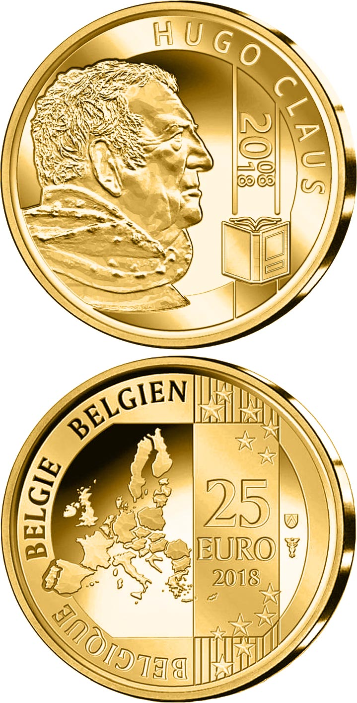 Image of 10th Anniversary of the Death of Hugo Claus – 25 euro coin Belgium 2018.  The Gold coin is of BU quality.