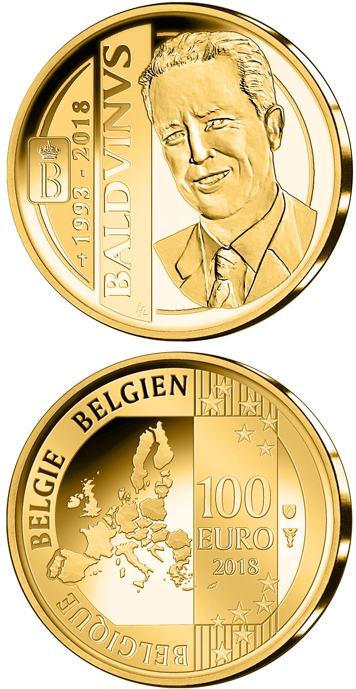 Image of 100 euro coin – 25 years of death King Baudouin | Belgium 2018.  The Gold coin is of Proof quality.