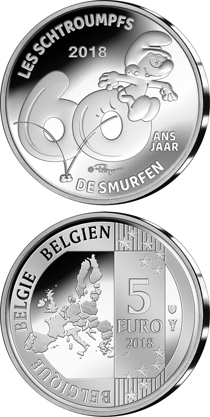 Image of 5 euro coin – 60 years of the Smurfs | Belgium 2018.  The Silver coin is of Proof quality.