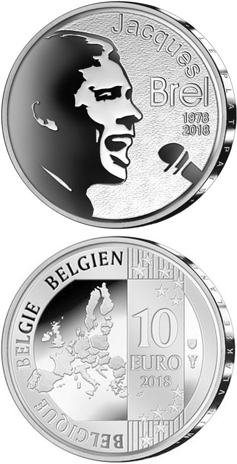 Image of 10 euro coin - 40 years of death Jacques Brel | Belgium 2018.  The Silver coin is of Proof quality.