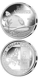 5 euro coin 100 years of Armistice | Belgium 2018