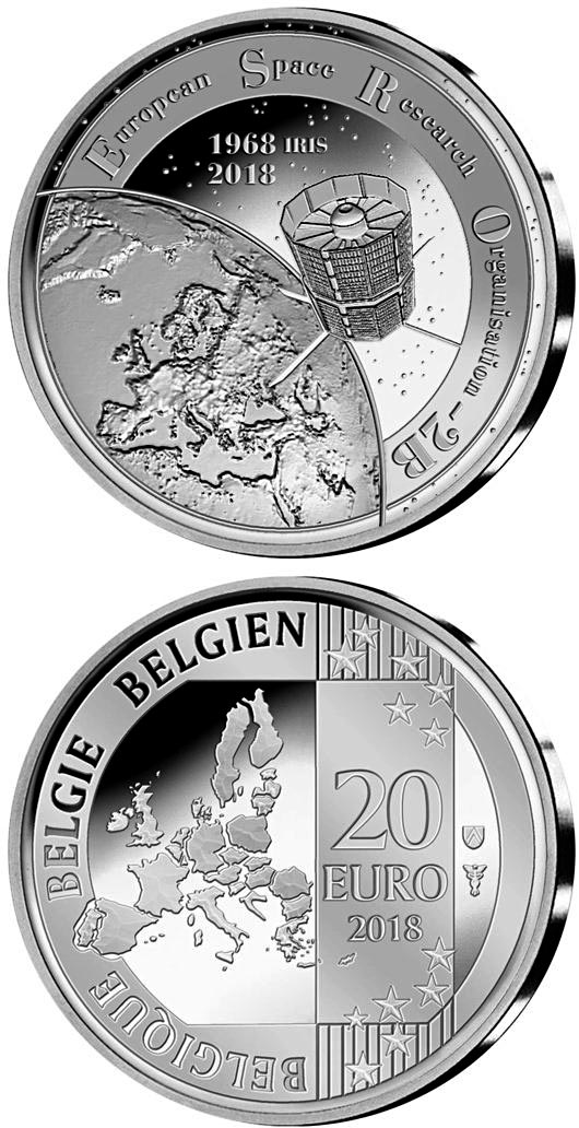 Image of 20 euro coin – 50 years ESRO-2B | Belgium 2018.  The Silver coin is of Proof quality.