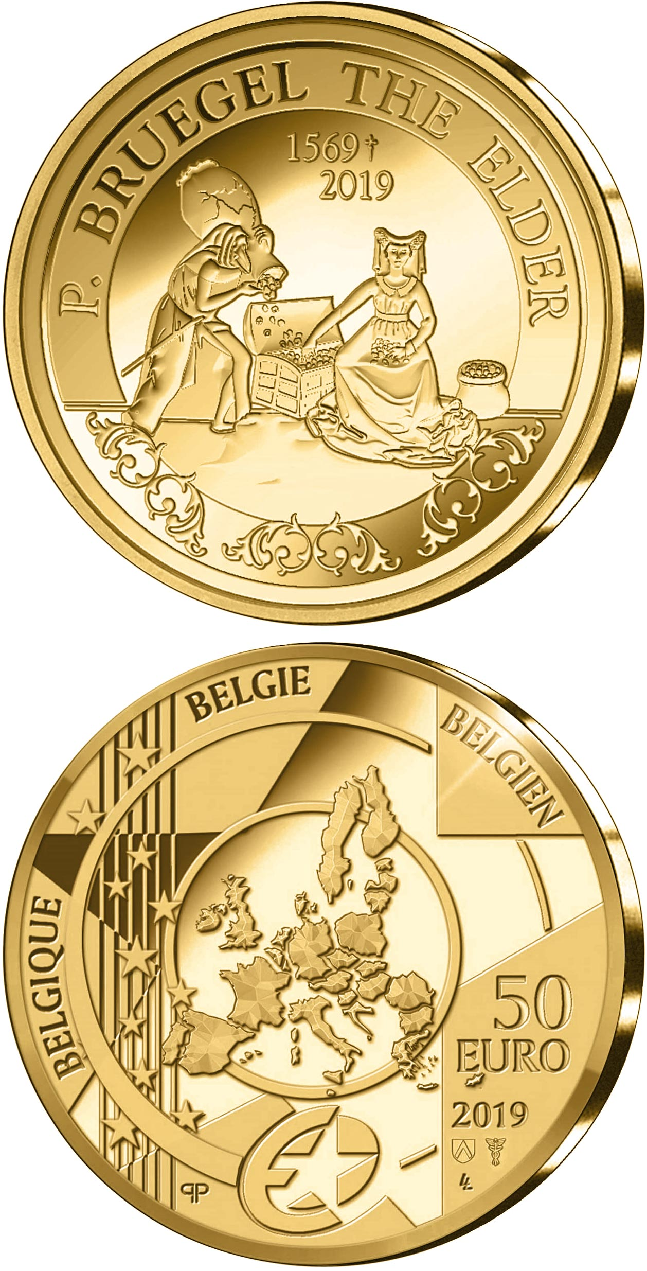 Image of 50 euro coin - 450th Anniversary of the Death of Pieter Bruegel the Elder | Belgium 2019.  The Gold coin is of Proof quality.