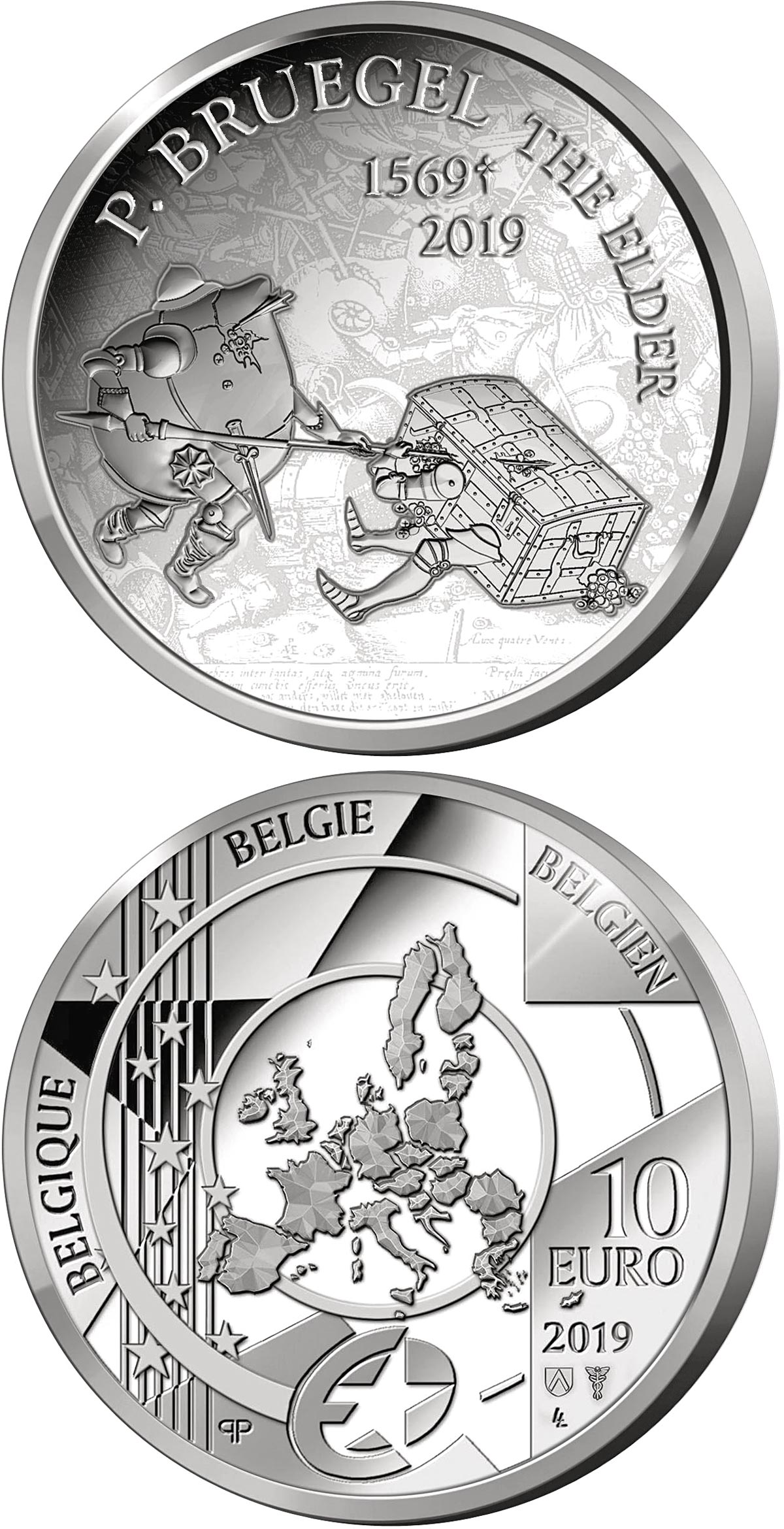 Image of 10 euro coin – 450th Anniversary of the Death of Pieter Bruegel the Elder | Belgium 2019. The Silver coin is of Proof quality.