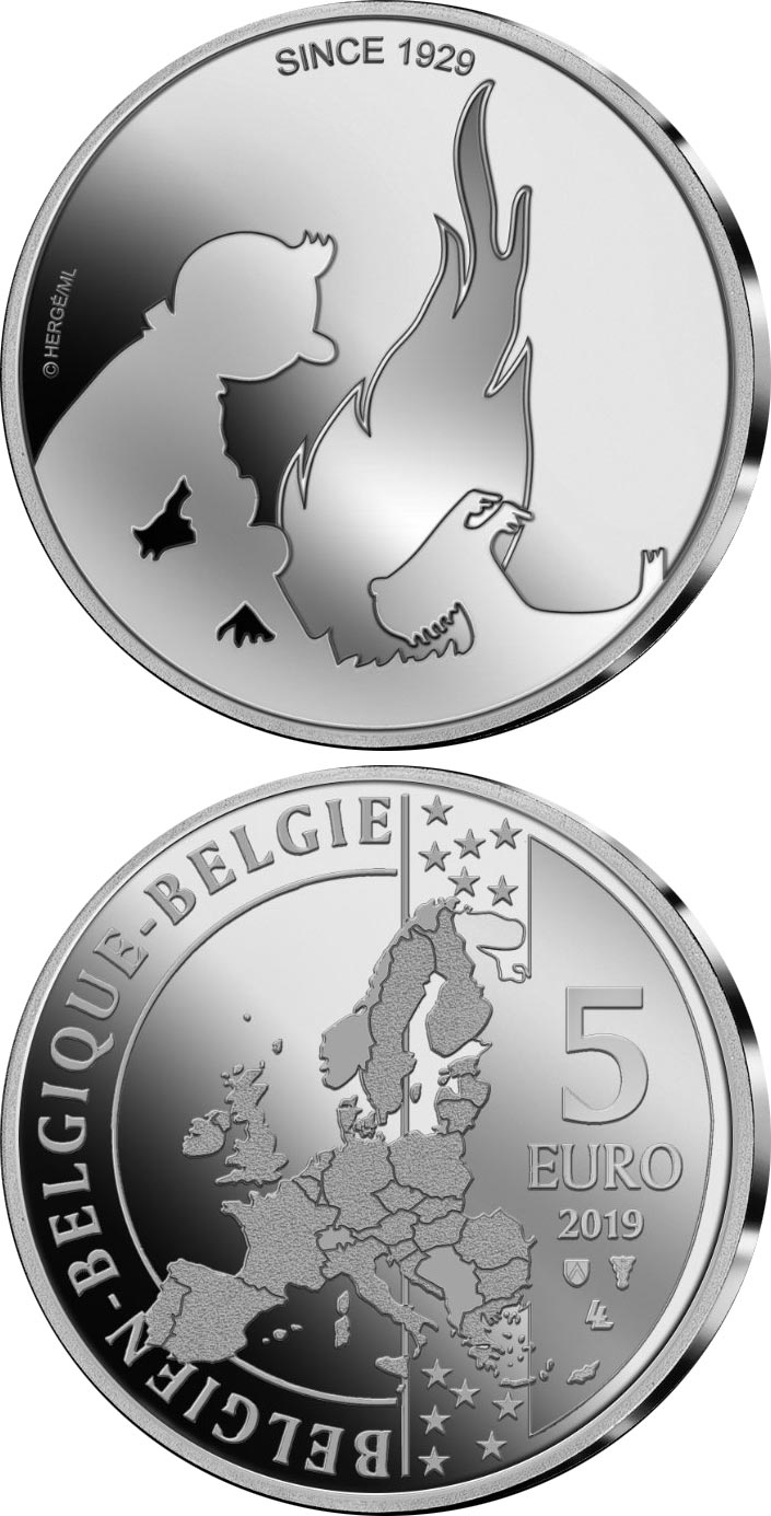 Image of 5 euro coin – 90 Years of the Adventures of Tintin | Belgium 2019