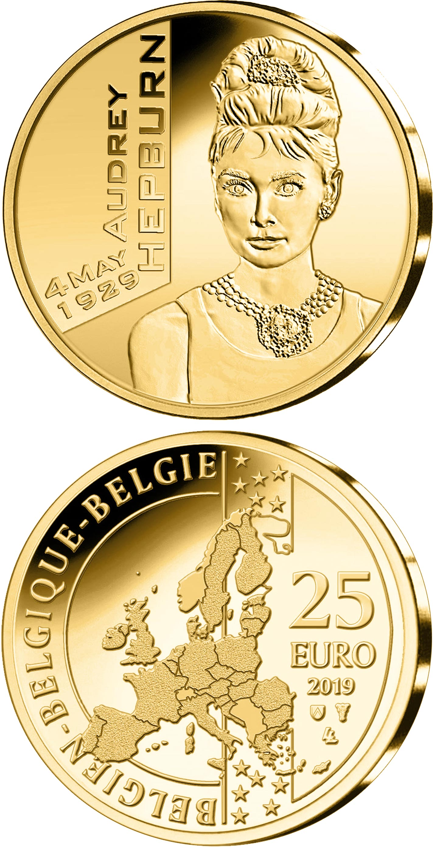 Image of 25 euro coin - Audrey Hepburn | Belgium 2019.  The Gold coin is of BU quality.