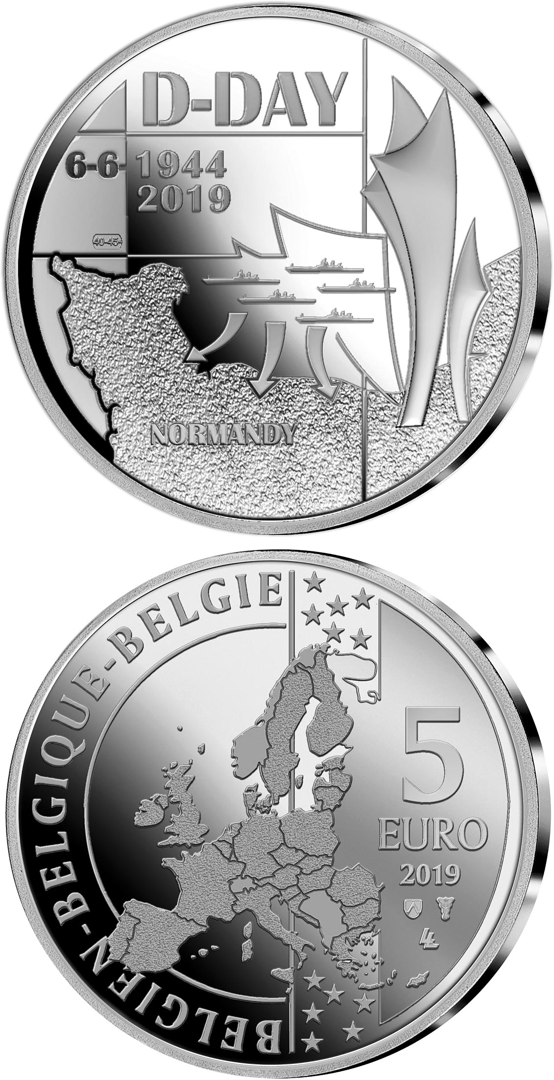 Image of 5 euro coin - 75th Anniversary of the D-Day | Belgium 2018.  The Copper–Nickel (CuNi) coin is of BU quality.