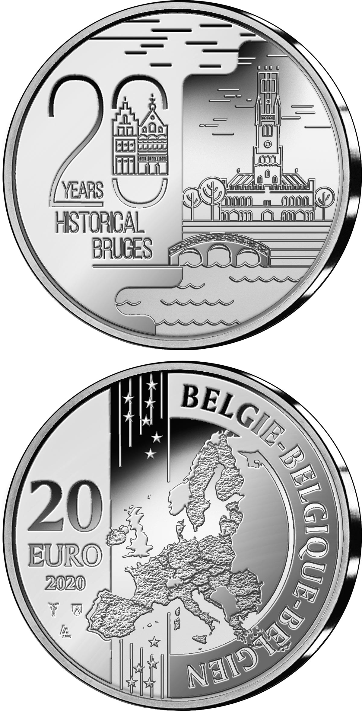 Image of 20 euro coin - 20 Years Historical Bruges | Belgium 2020.  The Silver coin is of Proof quality.