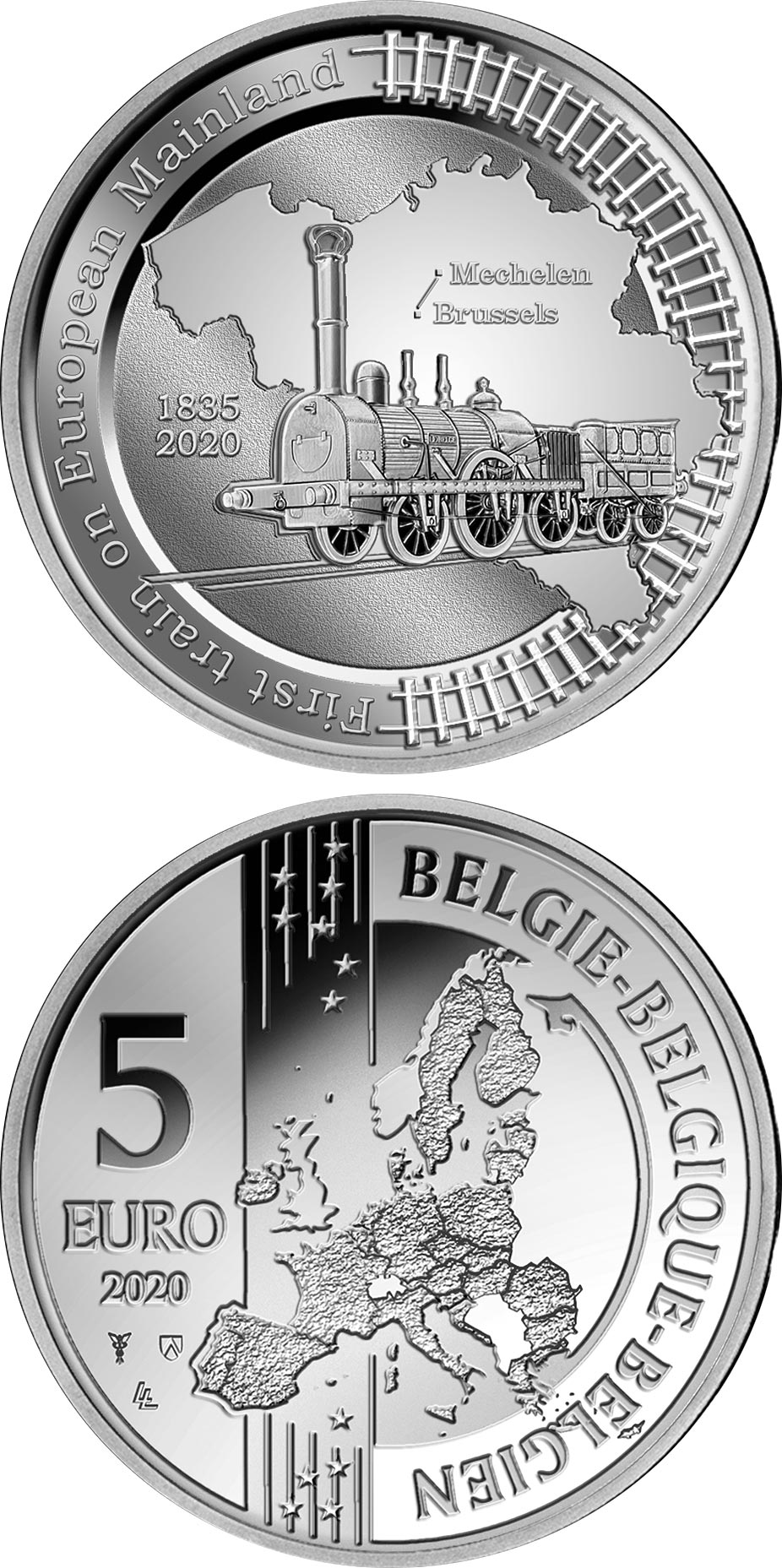 Image of 5 euro coin - 185th Anniversary of the First Train Line