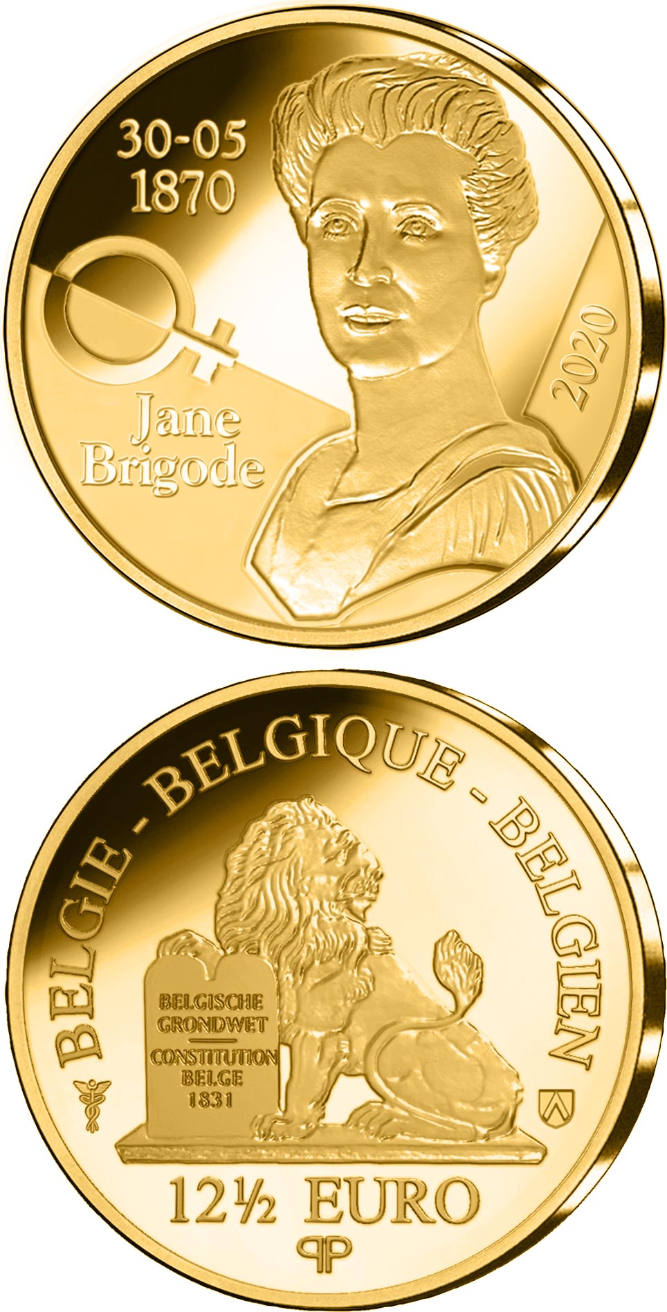 Image of 12.5 euro coin - 125th Anniversary of the Birth of Jane Brigode | Belgium 2020.  The Gold coin is of Proof quality.