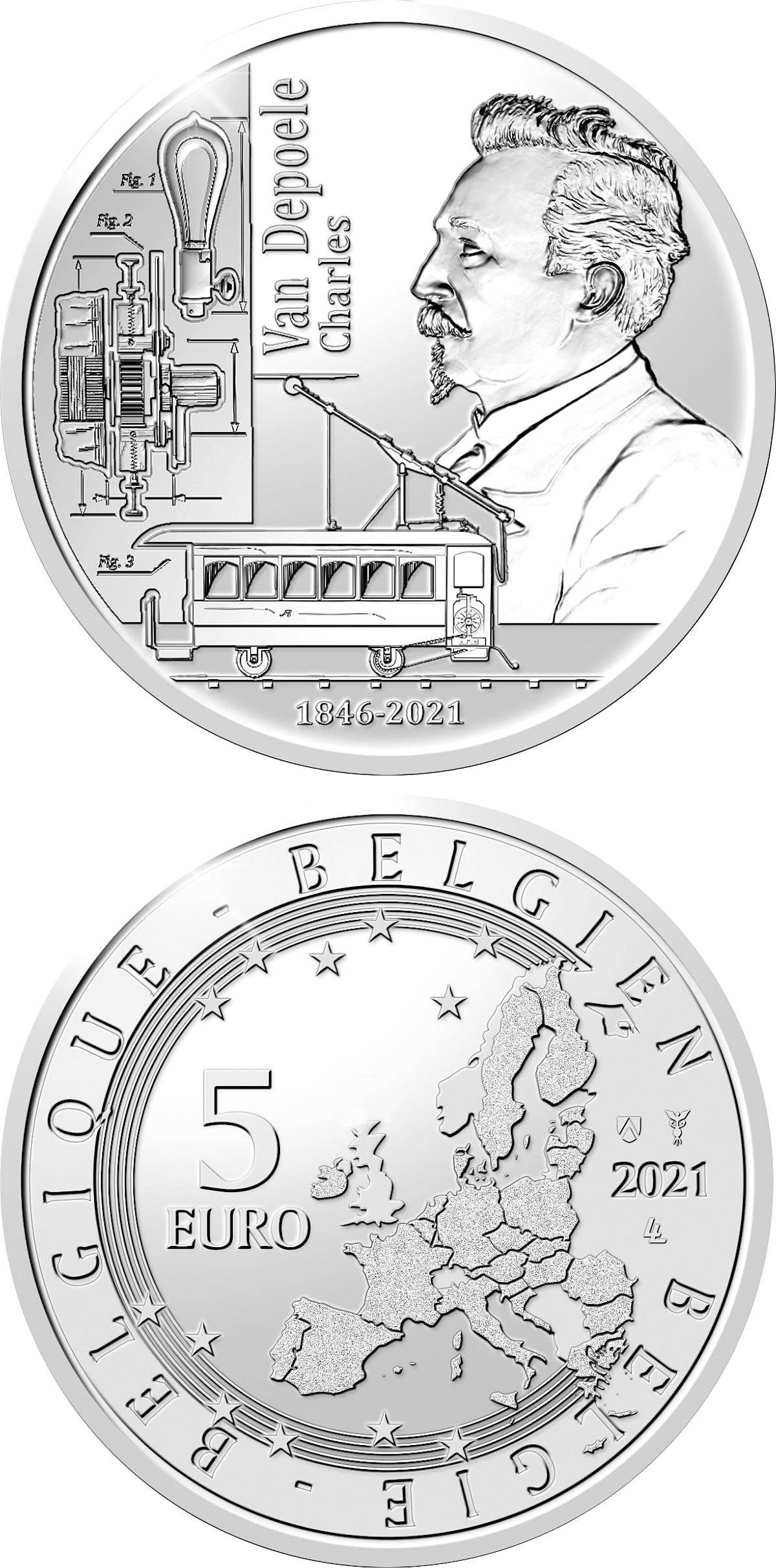 Image of 5 euro coin - 175th anniversary of birth Charles Van Depoele | Belgium 2021.  The Silver coin is of Proof quality.