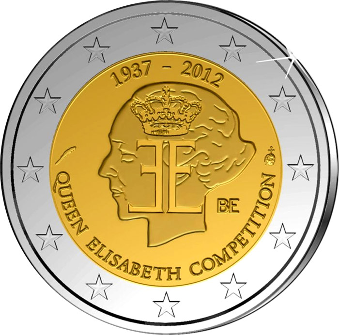 Image of 2 euro coin 75 years Queen Elisabeth Competition  | Belgium 2012