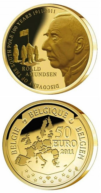 Image of 50 euro coin – Discovery of the South Pole 100 years | Belgium 2011.  The Gold coin is of Proof quality.