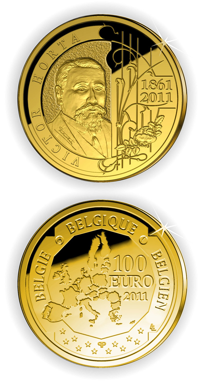 Image of 100 euro coin – Victor Horta  | Belgium 2011.  The Gold coin is of Proof quality.