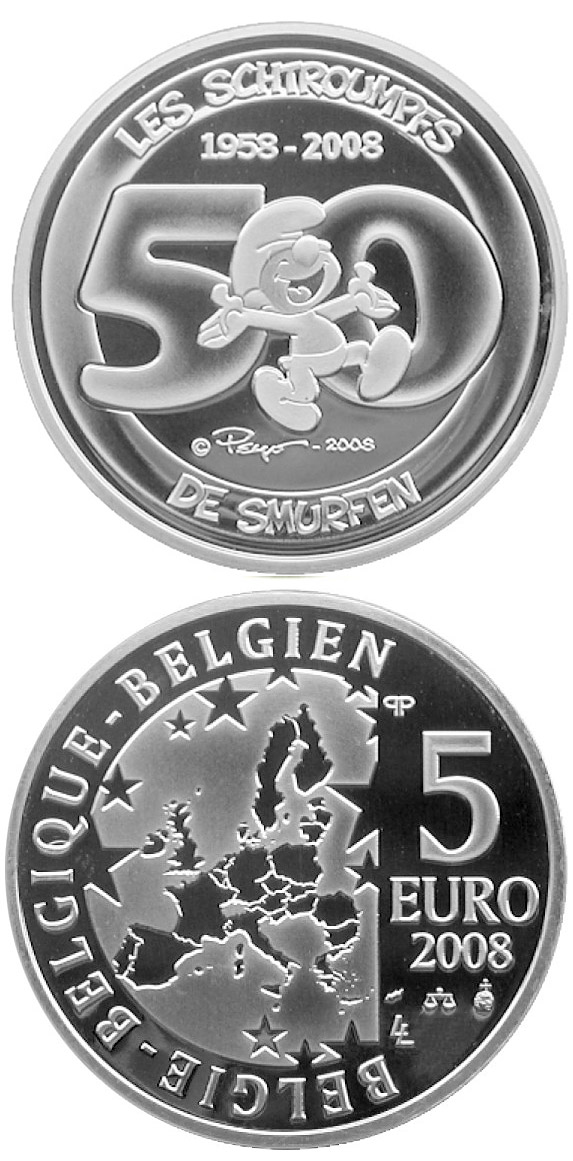 Image of 5 euro coin – The Smurfs - 50th Anniversary   | Belgium 2008.  The Silver coin is of Proof quality.