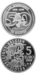 5 euro coin The Smurfs - 50th Anniversary   | Belgium 2008