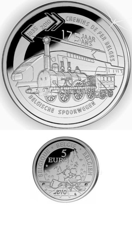 Image of 5 euro coin 175 years of Belgian railways  | Belgium 2010.  The Silver coin is of Proof quality.